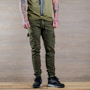 Зелен мъжки Cargo Jogger в рокерски стил 2