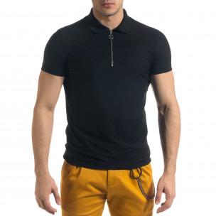 Slim fit черна мъжка тениска с яка и цип