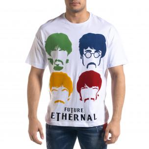 Мъжка бяла тениска The Beatles Oversize