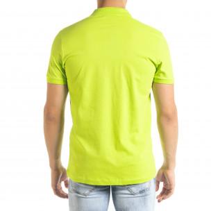 Basic Polo мъжка тениска неоново зелено  2