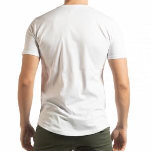 Бяла мъжка тениска с релефен череп  2