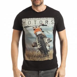Мъжка рокерска тениска в черно