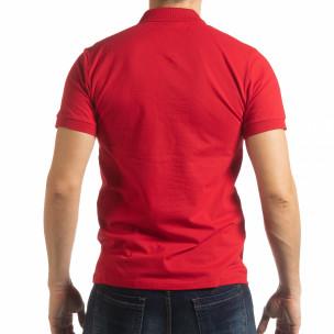 Мъжка тениска пике с акценти в червено 2