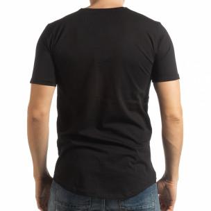 Черна мъжка тениска с ръкописен принт  2