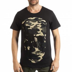 Мъжка черна тениска с камуфлажен череп