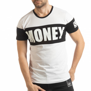 Бяла мъжка тениска Money