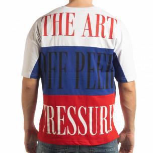Мъжка тениска в бяло, синьо и червено  2