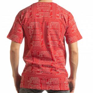 Мъжка червена тениска с удължен гръб  2