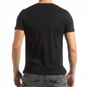 Мъжка тениска стил Patchwork в черно  2