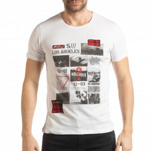 Мъжка тениска стил Patchwork в бяло