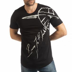 Черна мъжка тениска с ръкописен принт