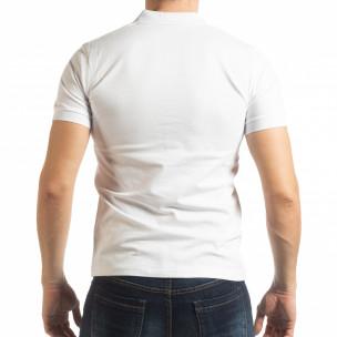 Мъжка тениска пике с акценти в бяло 2
