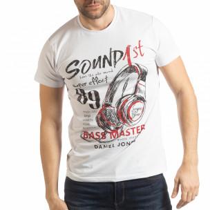 Мъжка бяла тениска Sound