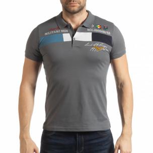 Мъжка тениска пике с акценти в сиво