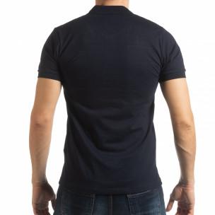 Мъжка тениска пике с акценти в тъмносиньо  2