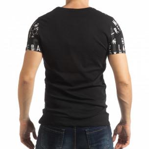 Черна мъжка тениска с надписи 2