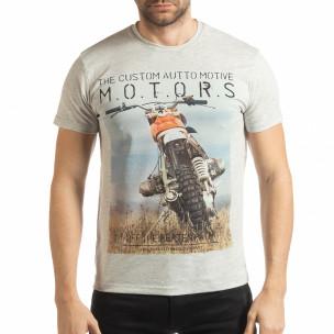 Мъжка рокерска тениска в сив меланж