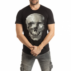 Черна мъжка тениска с гумиран череп