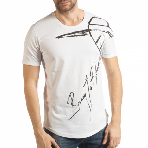 Бяла мъжка тениска с ръкописен принт