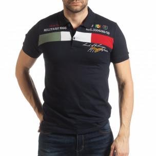 Мъжка тениска пике с акценти в тъмносиньо