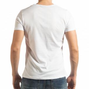 Бяла мъжка тениска с принт 1982  2