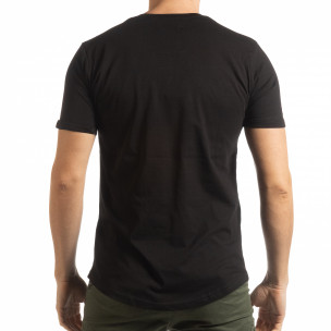 Черна мъжка тениска с релефен череп 2