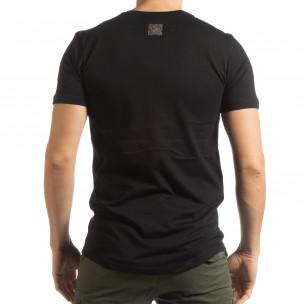 Мъжка черна тениска със сребрист принт  2