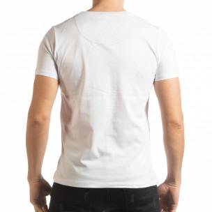 Мъжка тениска стил Patchwork в бяло  2