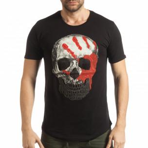 Черна мъжка тениска с релефен череп