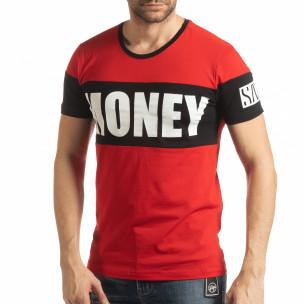 Червена мъжка тениска Money