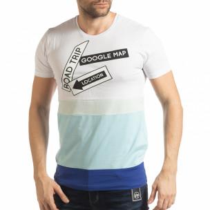 Синьо-бяла мъжка тениска