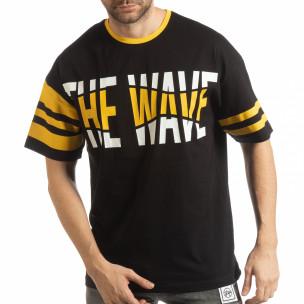 Черна мъжка тениска The Wave