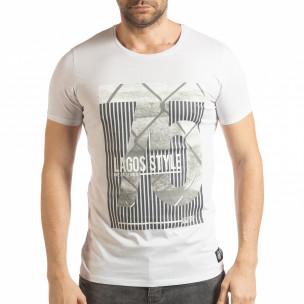 Бяла мъжка тениска с принт Lagos Style