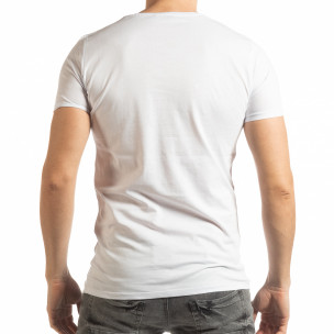 Бяла мъжка тениска с принт Lagos Style  2