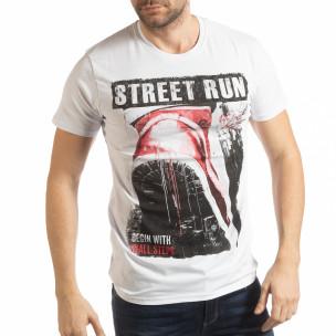 Бяла мъжка тениска Street Run