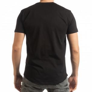 Черна мъжка тениска с гумиран череп 2