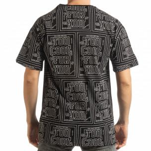 Мъжка черна тениска с удължен гръб  2