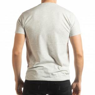 Мъжка рокерска тениска в сив меланж  2