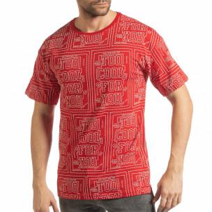 Мъжка червена тениска с удължен гръб