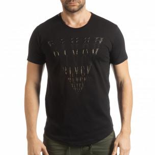 Мъжка черна тениска с релефен принт