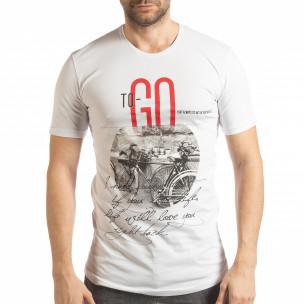 Мъжка тениска в бяло To-Go