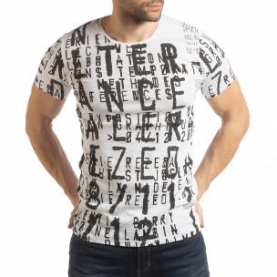 Бяла мъжка тениска с надписи