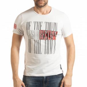 Бяла мъжка тениска Resurrection