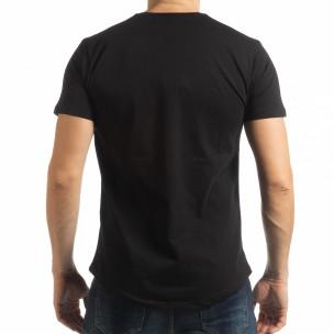Мъжка тениска в черно с пикселиран принт  2