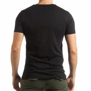 Черна мъжка тениска с принт Lagos Style  2