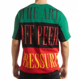 Мъжка тениска в зелено, черно и червено  2
