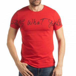 Червена мъжка тениска She Is What