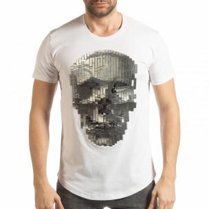 Бяла мъжка тениска с гумиран череп