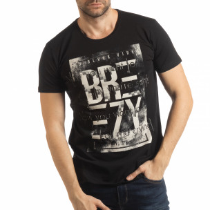 Мъжка тениска в черно с пикселиран принт