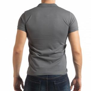 Мъжка тениска пике с акценти в сиво  2